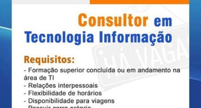 Vaga disponível para consultor de Tecnologia da Informação